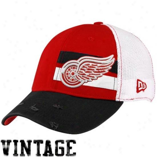 Detroit Red Winge Gear: New Era Detroit Red Wings White-red Double Stripe Vintage Flex Fit Hat