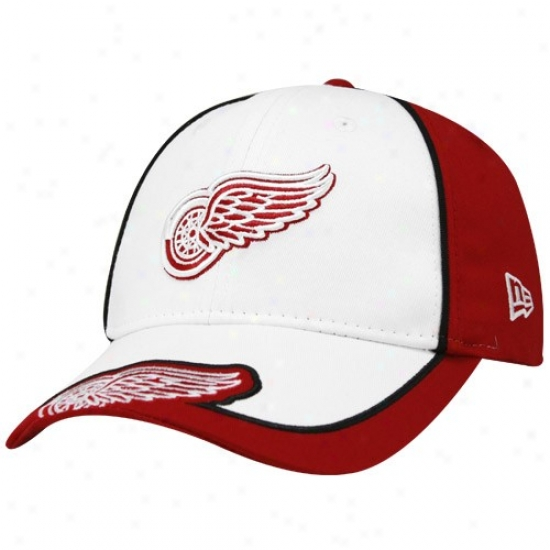 Detroit Red Wings Gear: New Era Detroit Red Wings Youth White-red Opus Adjustable Hat