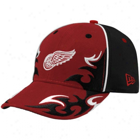 Detroit Red Wings Hat : New Era Detroit Red Wings Young men Blafk-red Team Ink Adjustable Hat