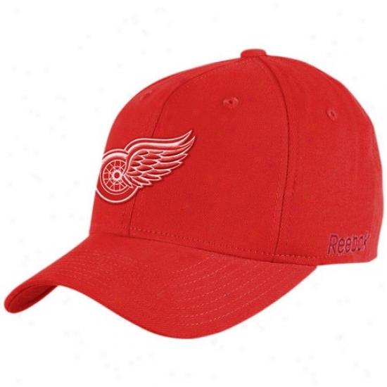 Detroit Red Wings Hat : Reebok Detroit Red Wings Red Basic Logo Flex Fit Hat