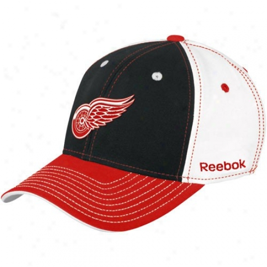 Detroit Red Wings Hat : Reebok Detroit Red Wings Whitw Colorblocked Basic Logo Flex Paroxysm Hat