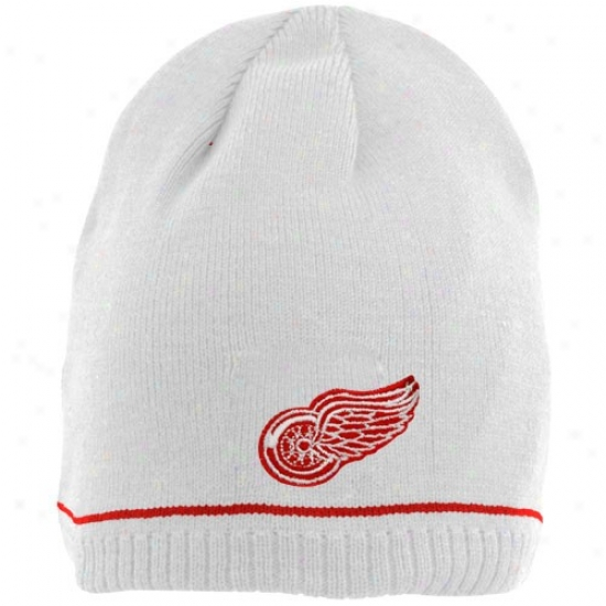Detroit Red Wings Hat : Reebko Detroit Red Wings Youth White Reversible Join Beanie