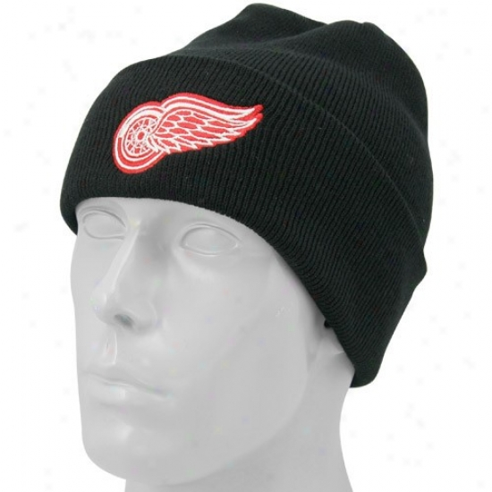 Detroit Red Wings Hat : Twins Undertaking Detroit Red Wings Black Knit Beanie