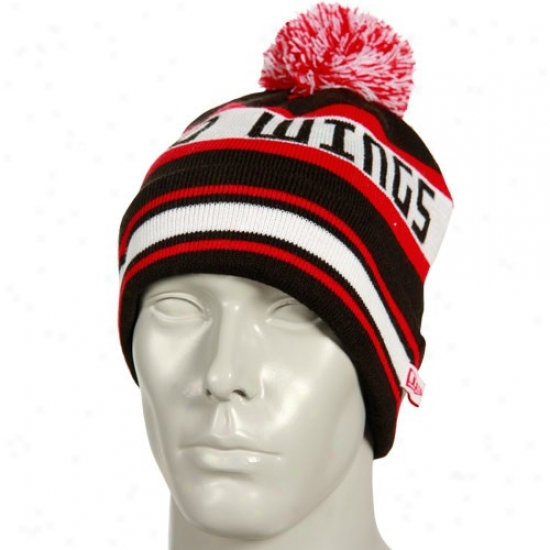 Detroit Red Wings Hats : Novel Era Detroit Red Winys Black Striped Jake Cuffed Knit Beanie