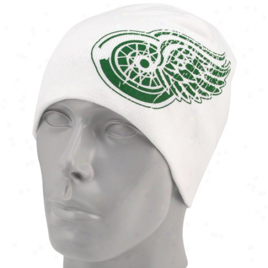 Detroit Red Wings Hats : Reebok Detroit Red Wings White St. Patrick's Day Cuffless Knit Beanie
