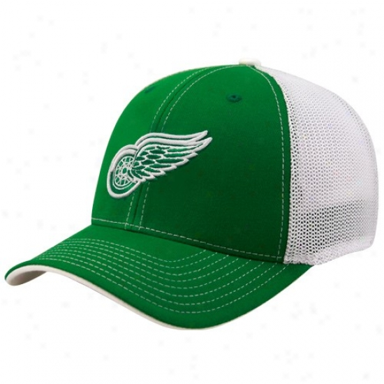 Detroit Red Wings Hats : Reebok Detroit Red Wings Kelly Green St. Patrick's Day Structured Mesh Back Flex Fit Hats
