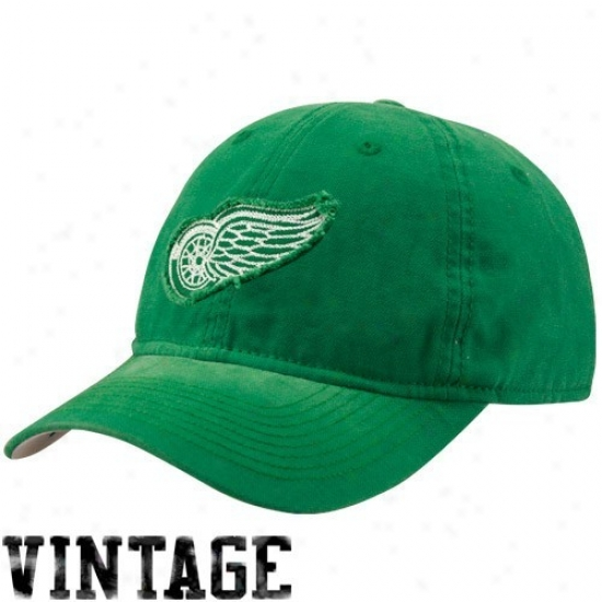 Detroit Red Wings Hats : Reebok Detroit Red Wings Kelly Green Sandblasted St. Paddy's Appointed time Adjustable Slouch Hats