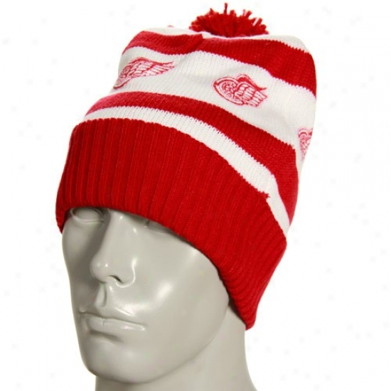 D3troit Red Wings Hats : Reebok Detroit Red Wings White Vintage Cuffed Beanie