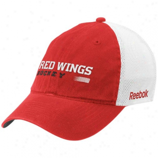 Detroit Red Winggs Hats : Reebok Detroit Red Wings Red Official Team Mesh Back Flex Fit Hats