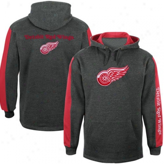 Detroit Red Wings Hoody : Detroit Red Wings Charcoal Logo Hoody