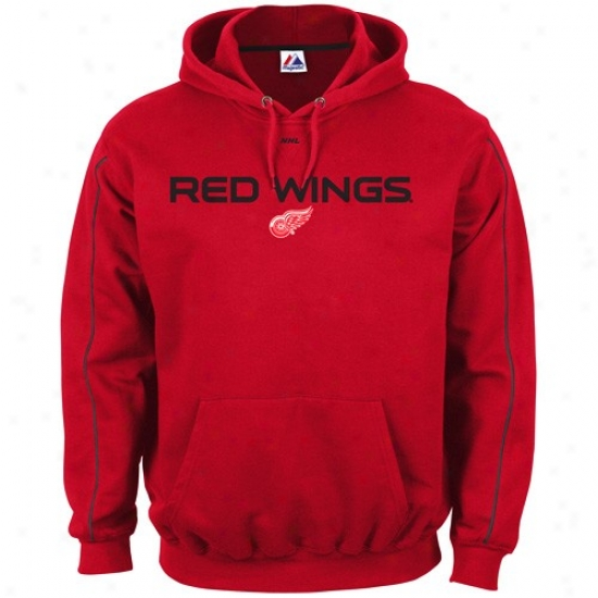 Detroit Red Wings Hoody : Majestic Detroit Red Wings Red Classic Hoody