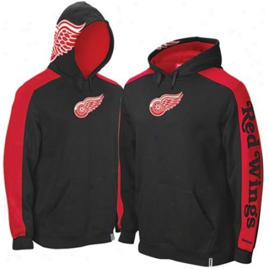 Detroit Red Wings Hoody : Reebok Detroit Red Wings Black Game Day Hoody