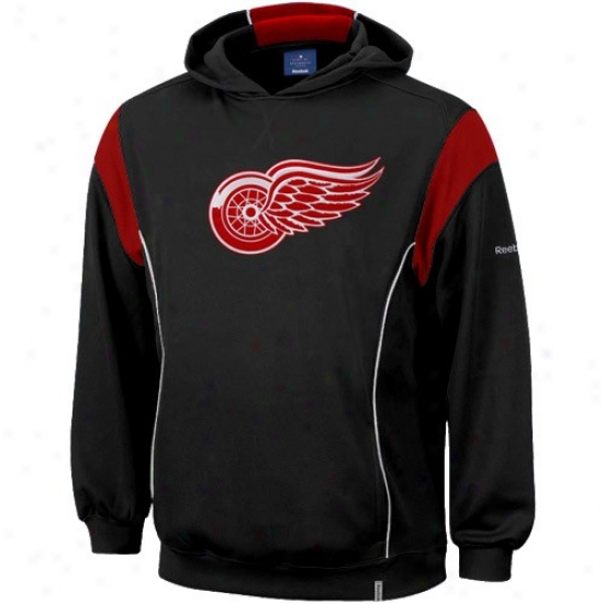 De5roit Red Wings Hoody : Reebok Detroit Red Wings Black Showboat Hoofy