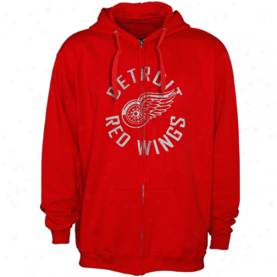 Detroit Red Wings Hoodys : Majestic Detroit Red Wings Red All Around Full Zip Hoodys