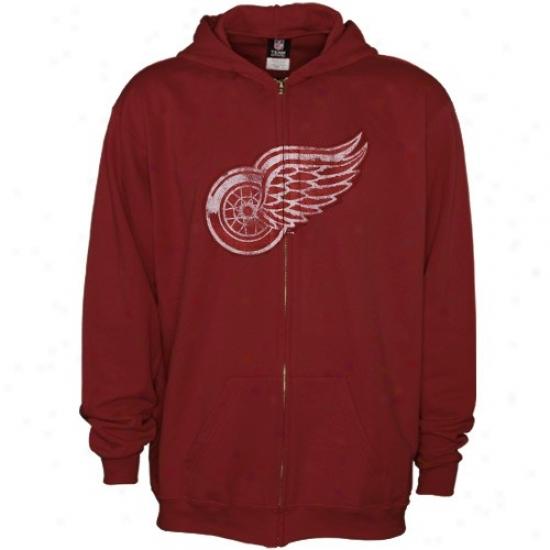 Detroit Red Wings Hoodys : Rebok Detroit Red Wings Red Better Logo Terry Hoodys