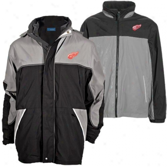 Detroit Red Wing Jacket : Detroit Red Wings Black-gray Quadrant Outer Shell Full Zip Heavyweight Reversible Jacket