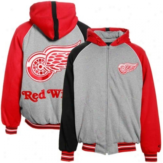 Detroit Red Wings Jacket : Detroit Red Wings Gray Full Zip Raglan Hoody Sweatshirt