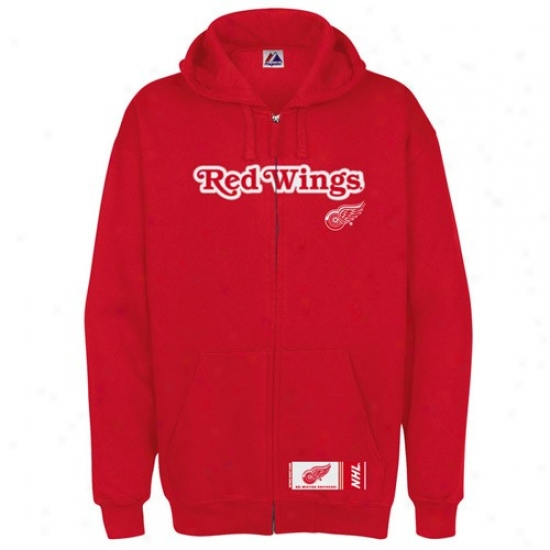Detroit Red Wings Jacket : Majestic Detroit Red Wings Red Classic Heavyweight Full Zip Hoody Jacket