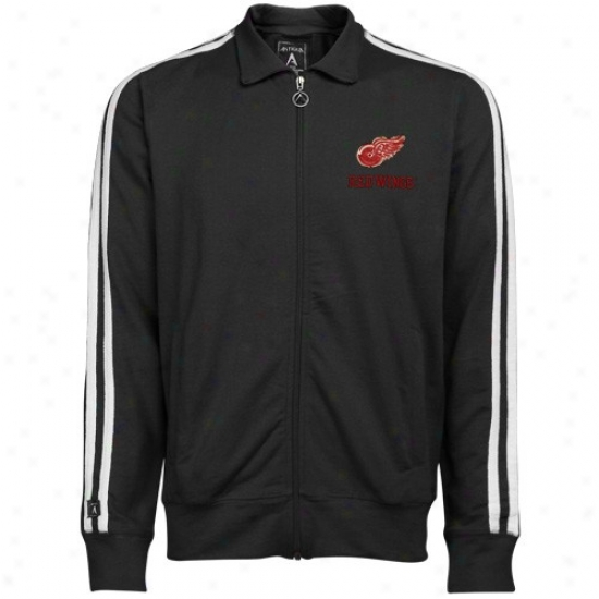 Detroit Red Wings Jackets : Antigua Detroit Red Wings Black Amsterram Distressed Logo Full Zip Course Jackets