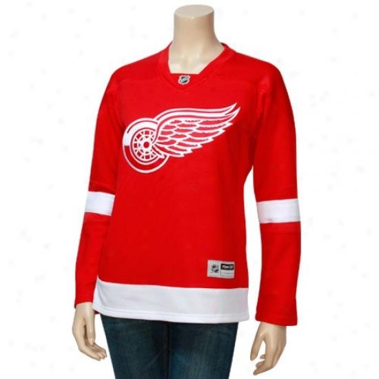 Detroit Red Wings Jerseys : Reebok Detroit Red Wings Ladies Red Edge Twilled Replica Hockey Jerseys