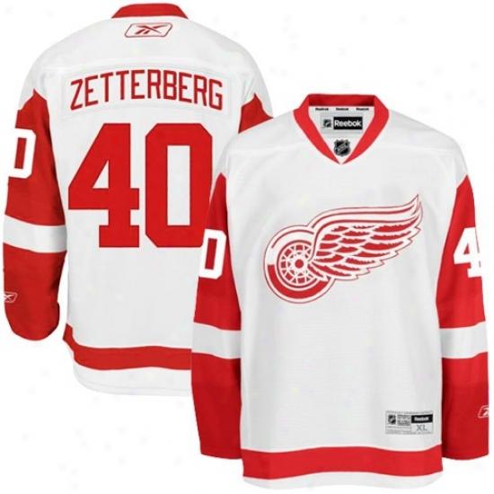 Dettoit Red Wings Jerseys : Reebok Detroit Red Wings #40 Henrik Zdtterberg White Premier Hockey Jerseys