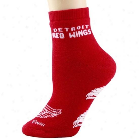 Detroit Red Wings Ladies Red Slipper Socks