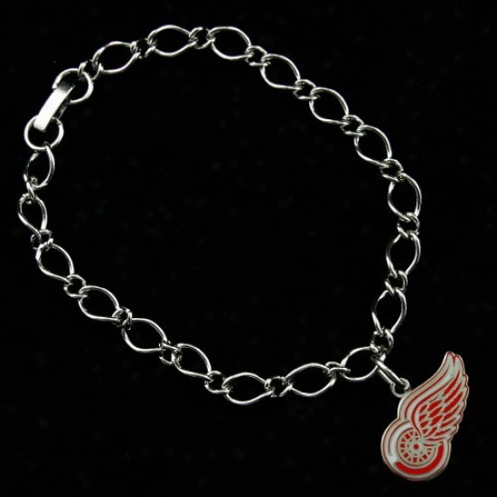 Detroit Red Wings Ladies Silver-tone Charm Bracelet