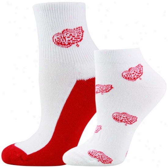 Detroit Red Wings Ladies White Two-pack Logo Socks
