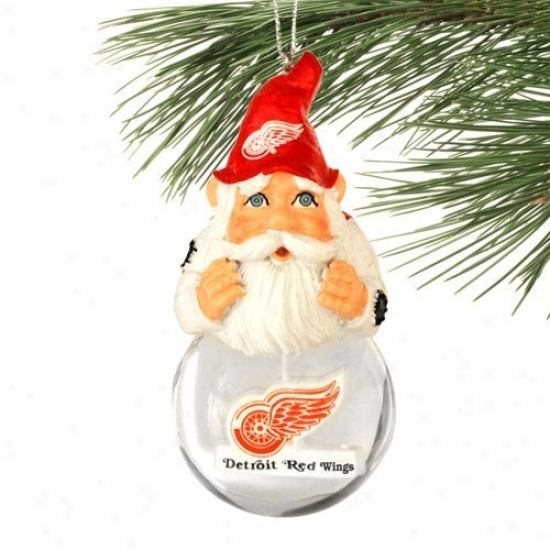 Detroit Red Wings Light-up Gnome Snowglobe Christmas Ornament