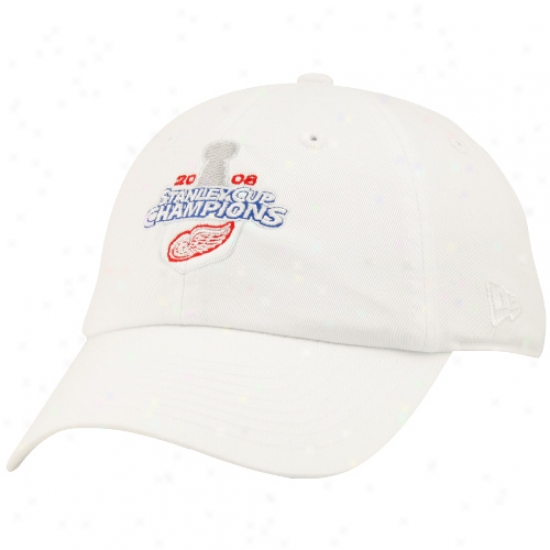 Detroit Red Wijgs Merchandise: New Era Detroit Red Wings 2008 Stanley Cup Champions Lafies White Adjustable Hat