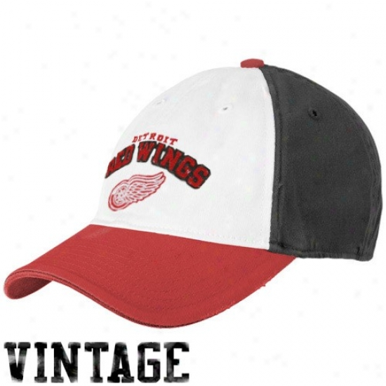 Detroit Red Wings Merchandise: Reebok Detroit Red Wings White-black Two Tone Flex Fit Slouch Hat