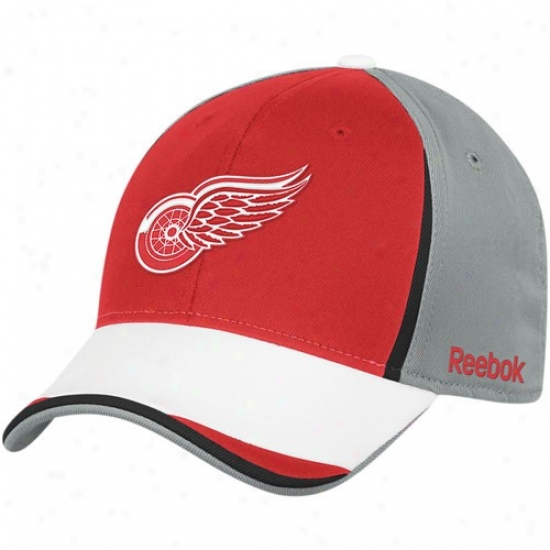 Detroit Red Wings Merchandise: Reebok Detroit Red Wings Gray-r3d Nhl 2010 Draft Day Flex Fit Hat