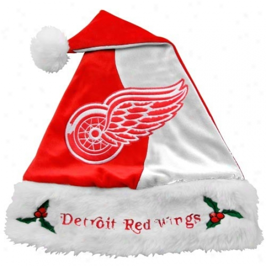 Detroit Red Wings Mistletoe Santa Hat