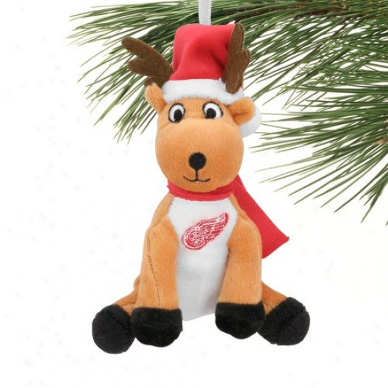 Detroit Red Wings Plush Reindeer Ornament