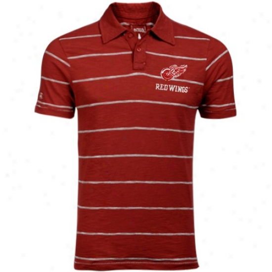 Detroit Red Wings Polo : Antigua Detroit Red Wings Red Striped Manchester Applique Polo