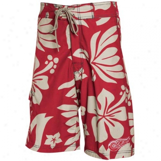 Detroit Red Wings Red Hawaiian Print Boardshorts