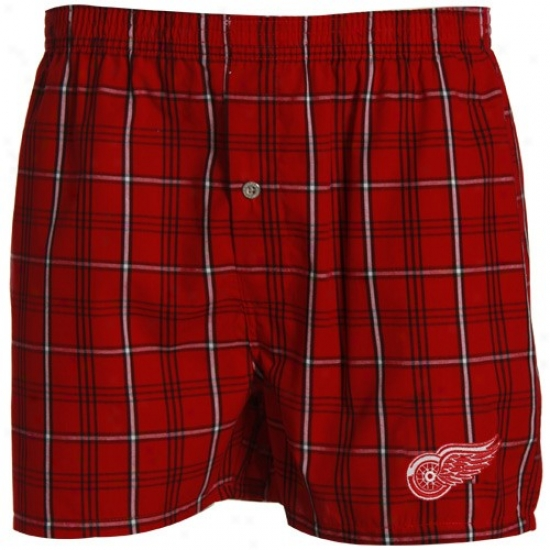 Detroit Red Wings Red Plaid Genuine Boxer Shorts