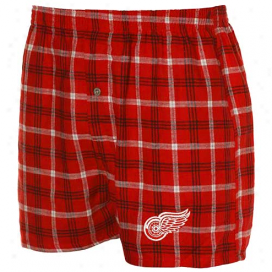 Detroit Red Wings Red Plaid Match-up Boxer Shorts
