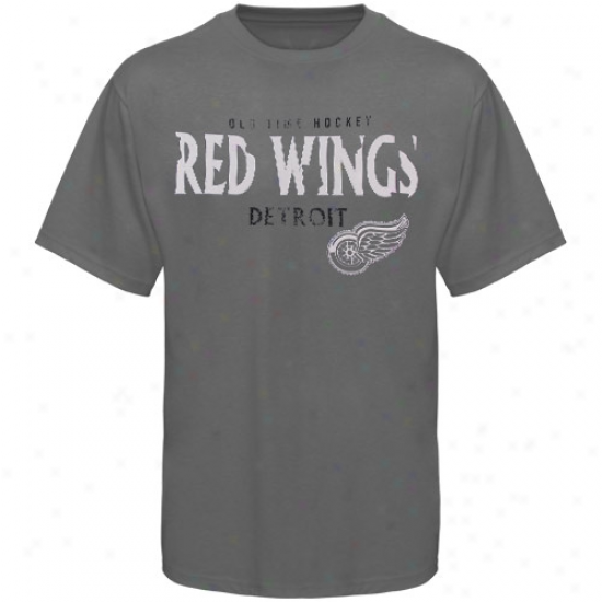 Detroit Red Wings Shirt : Old Time Hockey Detroit Red Wings Charcoal St. Croix Shirt