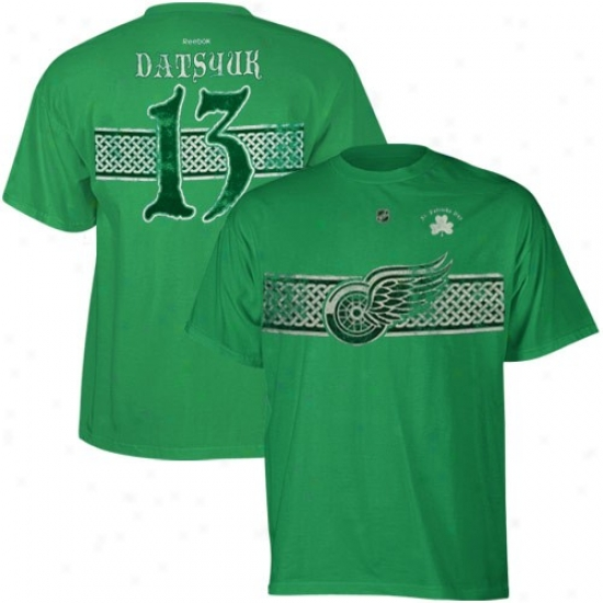Detroit Red Wings Shirt : Reebok Detroit Red Wings #13 Pavel Datsyuk Kelly Green St. Patrick's Dzy Celtic Player Shirt
