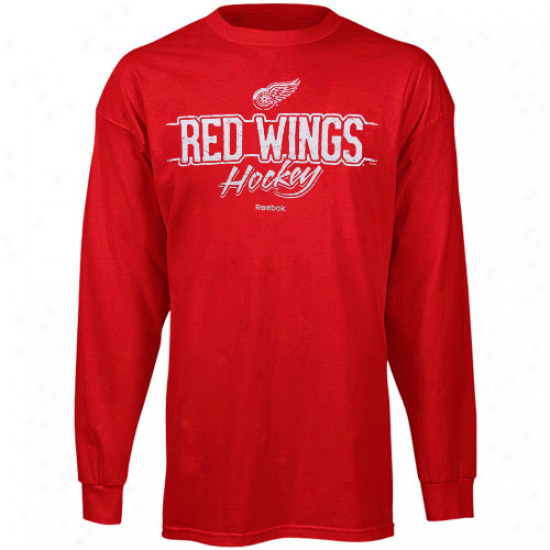 Detroit Red Wings Shirt : Reebok Detroit Red Wings Red Allegiance Long Sleeve Shirt