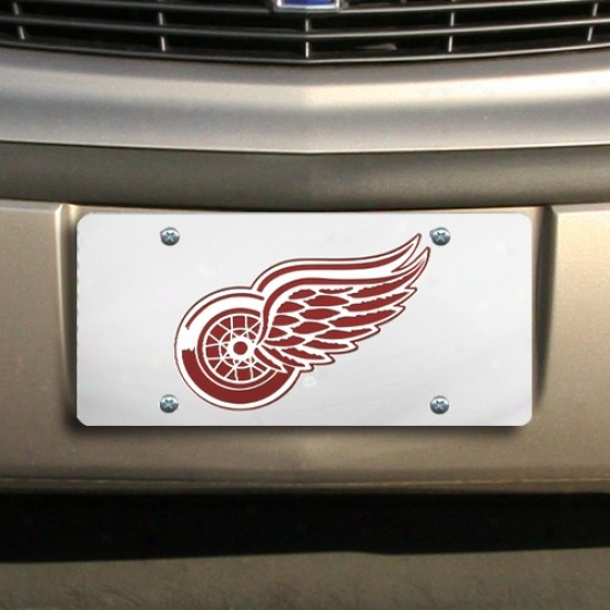 Detroit Red Wings Silver Mirrorred License Plate