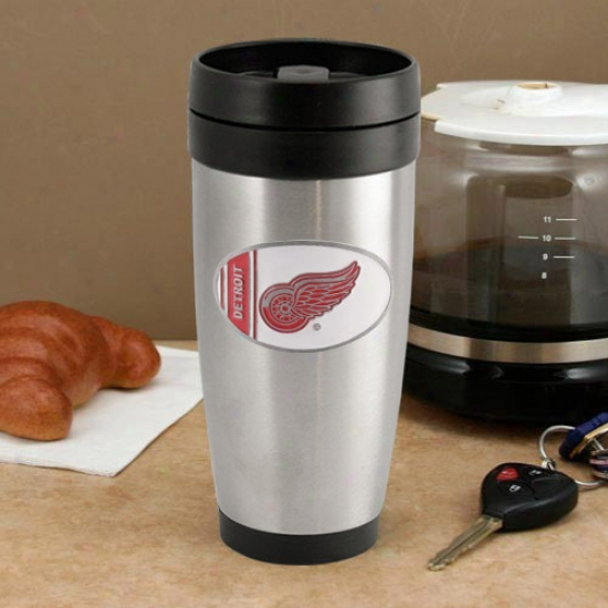 Detroit Red Winga Stainless Steel Team Logo Thermo Travel Tumbler