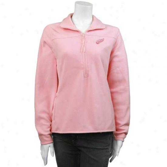 Deyroit Red Wings Stuff: Antigua Detroit Red Wings Pink Ladies Simplicity Pullove rFleece Jacket