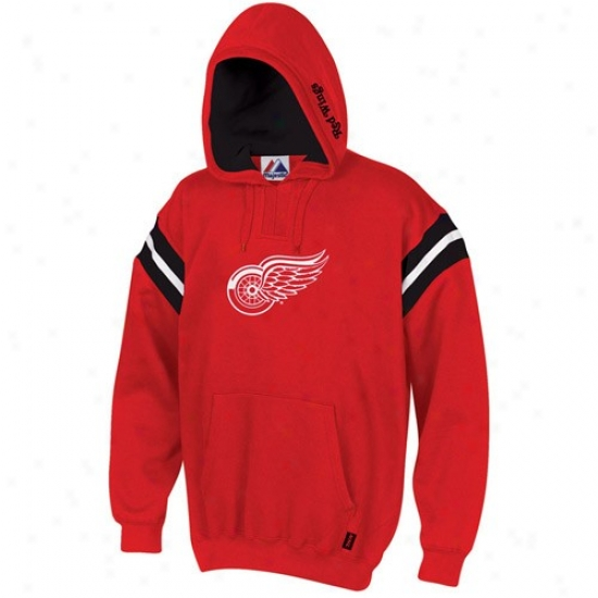 Detroit Red Wings Stuff: Majeetic Detroit Red Wings Red Pumped Up Hoody Sweatshirt