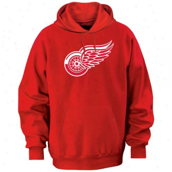 Detroit Red Wings Sweat Shirt : Majestic Detroit Red Wings Red Felt Tek Patch Sweat Shirt