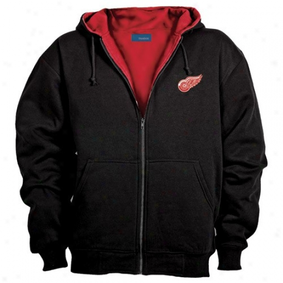 Detroit Red Wings Sweatshirt : Detroit Red Wings Black Craftsman Workman's Full Zip Sweatshidt