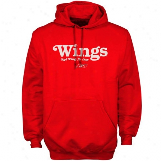 Detroit Red Wings Sweatshirts : Reebok Detroit Red Wings Red Wordplay Sweatshirts