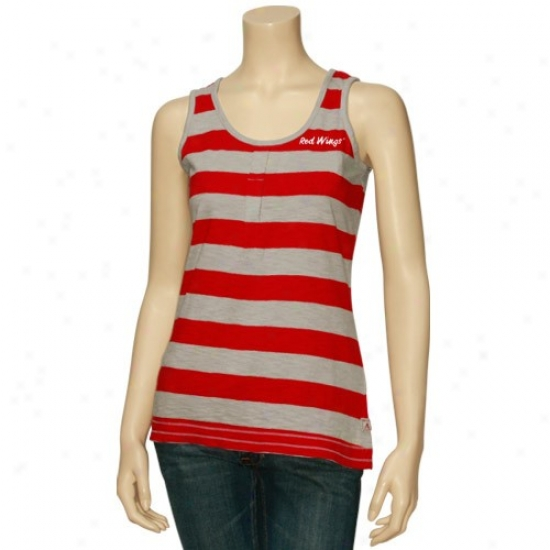 Detroit Red Wings T-shirt : Antigua Detroit Red Wings Ladies Red-gray Striped Electric Tank Top