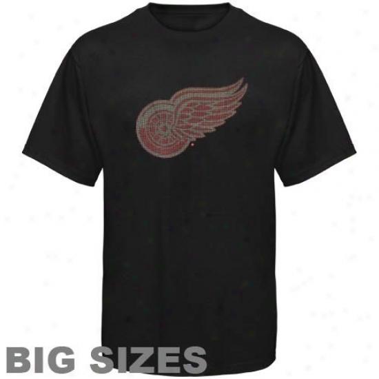 Detroit Red Wings T-shirt : Detroit Red Wings Black Bling Premium Big Sizes T-shirt